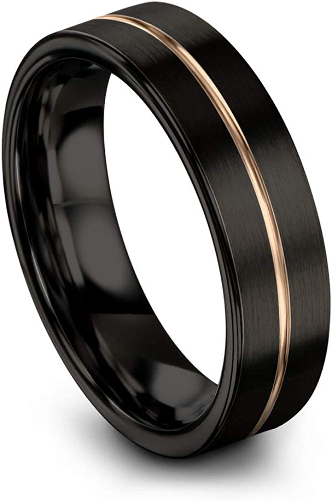 Midnight Rose Collection Tungsten Wedding Band Ring 6mm for Men Women 18k Rose Yellow Gold Plated Flat Cut Center Line Black Brushed Polished