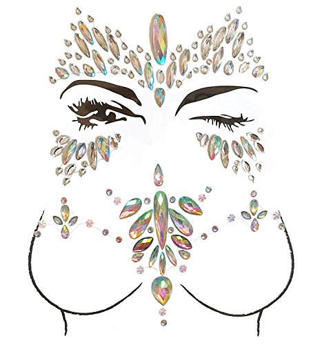 Face Gems, Ynredee 2 Set Women Mermaid Rave Festival Glitter, Rhinestone Temporary Tattoo Face Jewels Crystals Face Stickers Eyebrow Face Body Jewelry (breast and face 1)