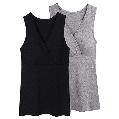 KUCI Women Maternity Nursing Tank Top Camisole Sleep Bra For Breastfeeding (L, Black+Grey/2Pack)