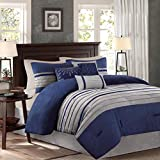 Madison Park Palmer 7 Piece Comforter Set -Navy Blue and Gray - California King - Pieced Microsuede - Includes 1 Comforter, 3 Decorative Pillows, 1 Bed Skirt, 2 Shams