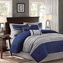 Madison Park MP10-2264 Palmer 7Piece Comforter Set King , Blue, King,Blue,King