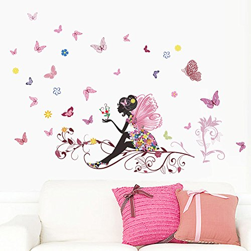 Cyhulu Creative Window Wall Removable Decal, Beautiful Kawaii New Butterfly Flower Fairy Mural Stickers for Baby Bedroom Living Room Home Wall Window -
