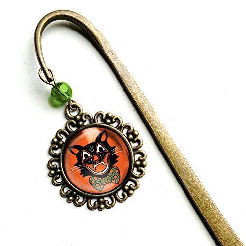 Retro Halloween Black Cat in Bowtie brass bookmark -