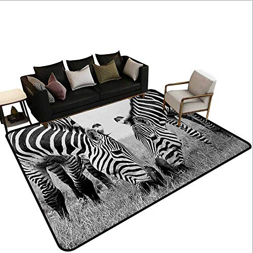 AlEASYHOME Non Slip Pad Rug Carpet, Zebras Wildlife Burchell Safari Theme National Park Monochrome Picture, 4.9′x5.9′ Hardwood Or Tile Floors Protection, Black White (And Black White Floor Tile Zebra)