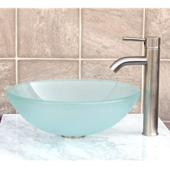 Bathroom Frosted Glass Vessel Sink U0026 Brushed Nickel Faucet Combo U0026 Brushed  Nickel Pop Up Drain