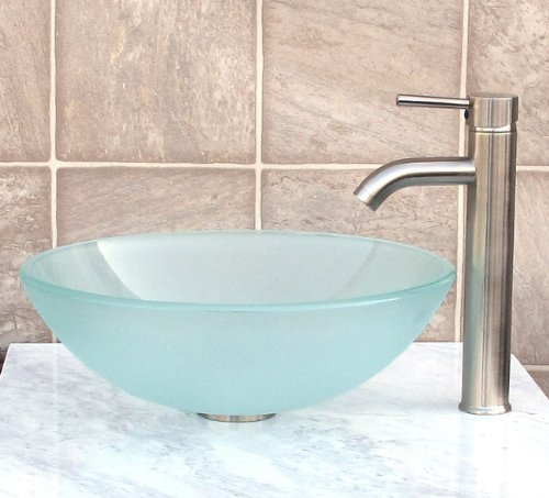 Bathroom frosted Glass Vessel Sink Brushed Nickel Faucet Combo Brushed nickel Pop Up Drain Mounting Ring R12FN3