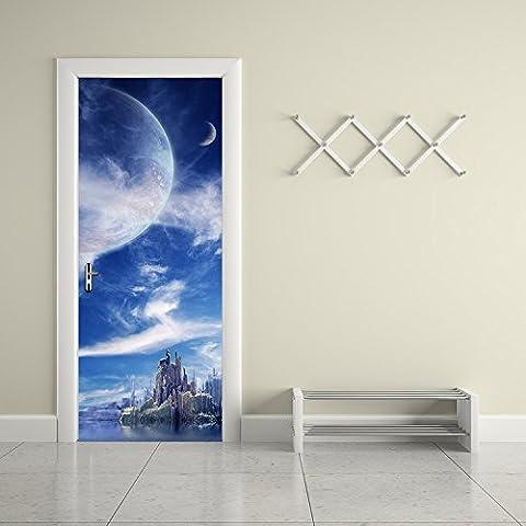 CaseFan 3d Door Wall Mural Wallpaper Stickers--Fantasy Planet Self-adhesive Vinyl Removable Art Door Decals (Fantasy Mural)