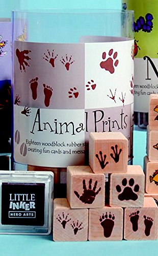 Hero Arts Ink N Stamp Animal Prints Set and ink cube, 1 x 1 Inch, Set of 18 (Animal Tracks Rubber Stamps)