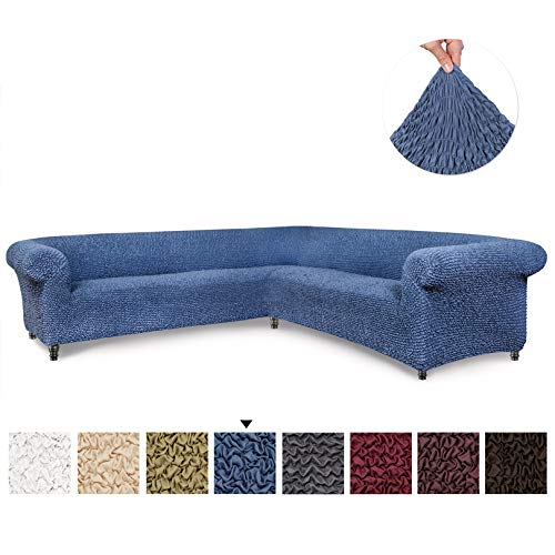Sectional Sofa Cover - Corner Couch Cover - Corner Slipcover - Soft Polyester Fabric Slipcovers - 1-piece Form Fit Stretch Furniture Slipcover - Microfibra Collection - Blue (Corner Sofa)