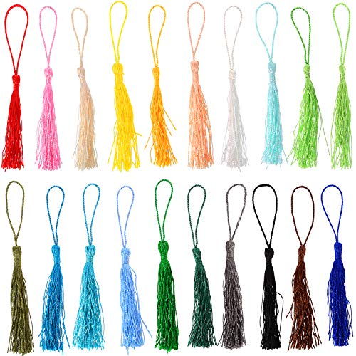 TecUnite 120 Pieces 13 cm/ 5 inch Handmade Silky Soft Craft Mini Tassels with Loops for DIY Projects, Jewelry Making, Decoration, Bookmarks, 20 Colors, 6 Pieces Each Color]()