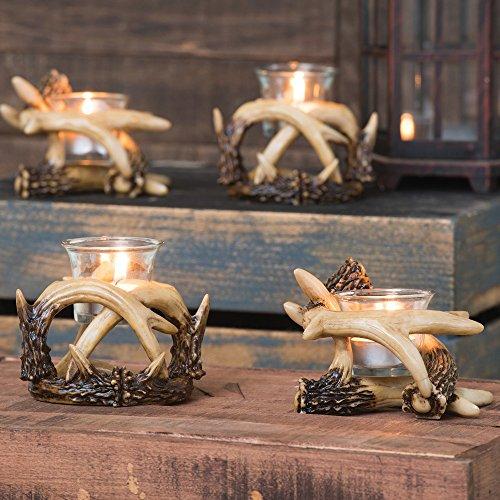 Black Forest Decor Antler Votive Candle Holders (Set of 2)
