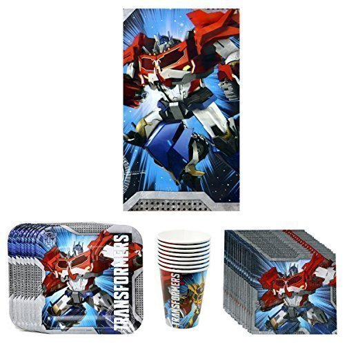 Transformers Prime Birthday Party Supplies Pack Bundle Kit Including Plates, Cups, Napkins and Tablecover - 8 Guests (Transformers Ounce Cups 9)