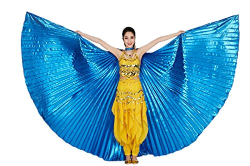 CISMARK Isis Wings Belly Dance Costume Prop Closed Back(Blue) (Shiny Blue)