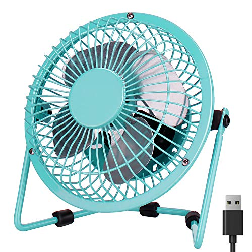 Peyou Desk Fan USB, 4 Inch Mini Desk Portable Fan-3.6 ft USB Cable-Personal Metal Table Fan Powered by Computer,Laptop,Power Bank Fan-360° Adjustable Operation Fan for Office,Home,Traveling(Blue)