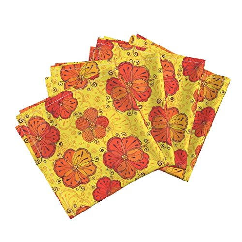 Sunset Cotton Fabric (Roostery Red Linen Cotton Dinner Napkins Red Flowers On Yellow Background by Art Of Sun Set of 4 Cotton Dinner Napkins made by)