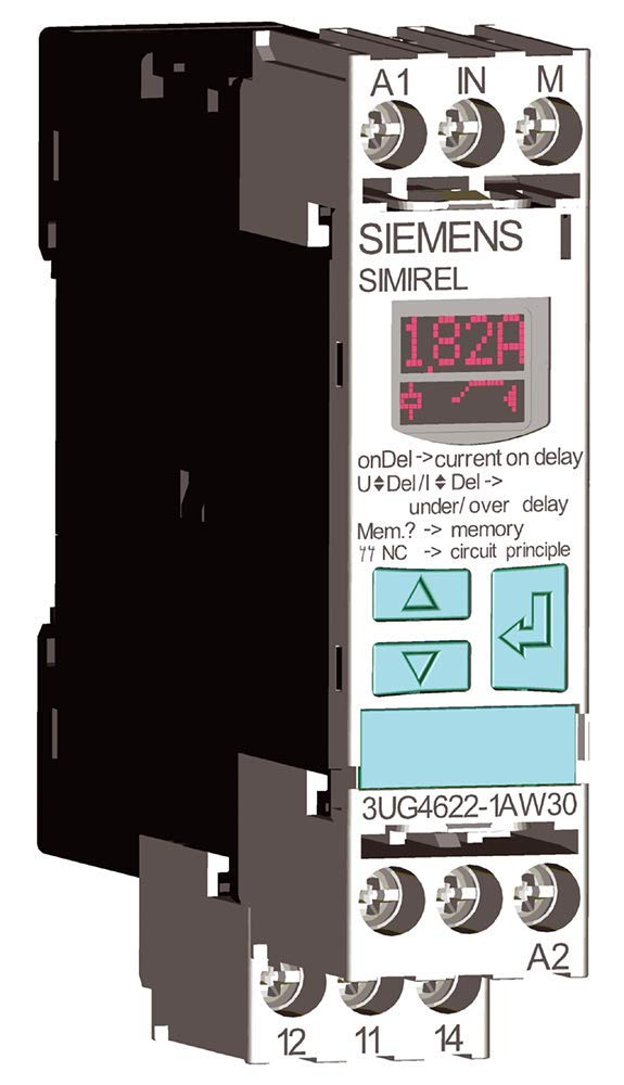 Siemens 3UG4622-1AW30 Monitoring Relay, Single Phase Current Monitoring, 22.5mm Width, Screw Terminal, 1 CO Contacts, 0.05A AC/DC Measuring Range, 0.01A-5A Hysteresis, 0-20 s Starting Bypass Time, 0-20 s Off Delay, 24-240VAC/DC Auxiliary Voltage by SIEMENS