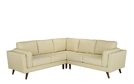 Divano Roma Furniture - Mid Century Modern Tufted Real Leather Sectional Sofa (Beige)