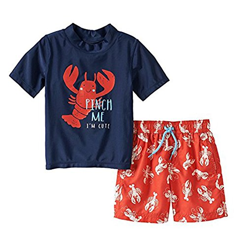 Carter's Short-Sleeve Rashguard and Swim Trunks Set - Boys (6-9 Months, Pinch Me- Lobster) ()