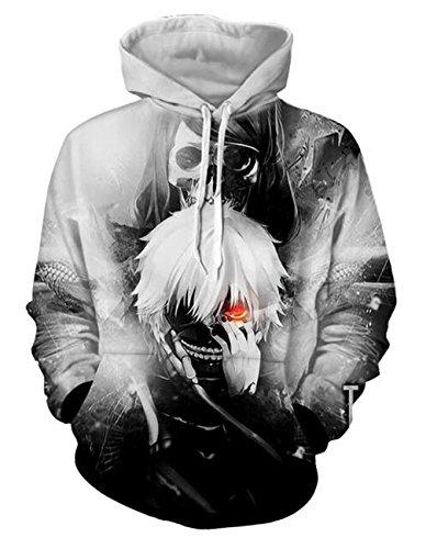 - DreamAndReality Unisex Hoodies Tokyo Ghouls Ken Kaneki 3D Print Pullover Sportswear Sweatshirt Tops 245