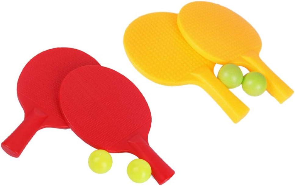 Toyvian 2 Juegos de Raqueta de Tenis de Mesa con Pelota de Ping Pong de Plástico para Niños Práctica de Entrenamiento Pantalones de Plástico para Niños (Rojo)