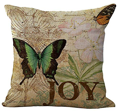 Acelive 16 x 16 Inches Floral Butterfly Stuffed Cushion Cotton Linen Throw Pillow Square Insert for Lounge Saloon Decorations Decor Decorative for Halloween Christmas Thanksgiving Gift]()