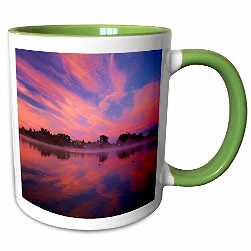 3dRose Danita Delimont - Waikato - Sunrise, Lake Rotoroa, Hamilton, Waikato, North Island, New Zealand 01-11oz Two-Tone Green Mug (mug_248288_7) - Hamilton Island Light