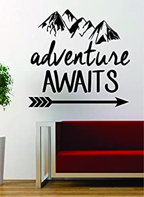 Adventure Awaits V2 Mountains Arrow Design Decal Sticker Wall Vinyl Art Decor Travel Explore Wanderlust Hike
