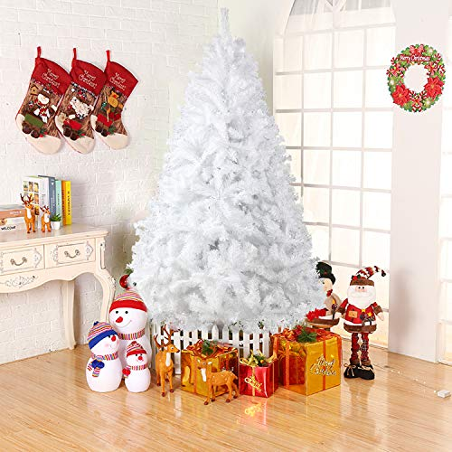 Dporticus 8 Foot Eco-Friendly Artificial Christmas Pine Tree with Solid Metal Legs 1500 Tips Full Tree (White)