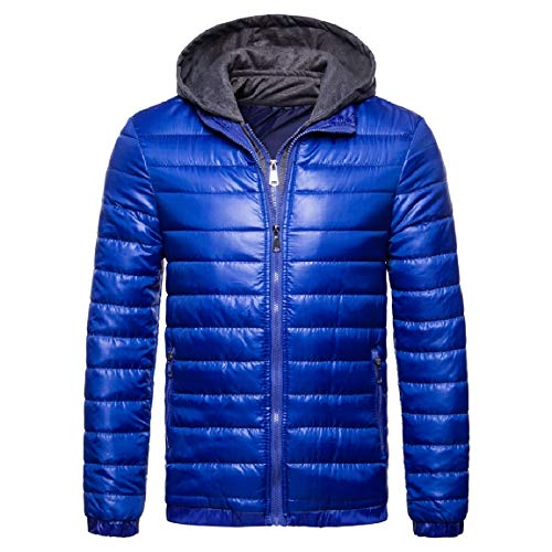 Mogogo Thicken Zip Comfort Blue Coat Solid Mens Hooded Cotton Wool Zfqwp4PZ