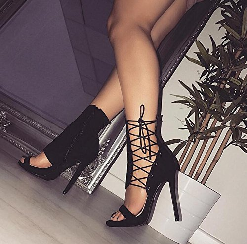 Boots caseros Cross Hollow Shoes Stilettos Vendajes Tacones Negro Mujer Cool Zapatos Sexy de Club Moda DANDANJIE Altos Zapatos Cxg0awWqv