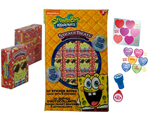 Spongebob Valentine's Day Stickers Treat Boxes (20 Pack) Spongebob, Patrick and Bikini Bottom Characters with Bonus Heart Stickers and Stamps for Fun]()
