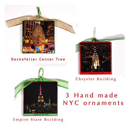 New York Christmas Ornament Set of 3, Empire State, Chrysler Building & Rockefeller Center Tree, Large, Wooden, Art on Both (Rockefeller Building New York)