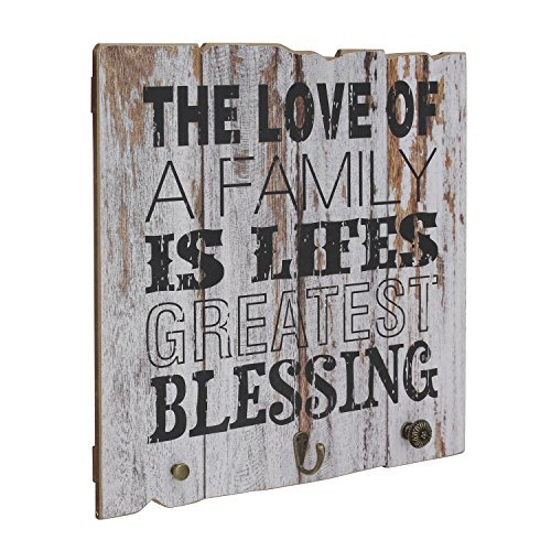 Stonebriar Rustic Wooden Worn White Painted Love of Family Wall Art with 3 Decorative Hooks, Inspirational Wall Decor, Gift Ideas for Friends and Family