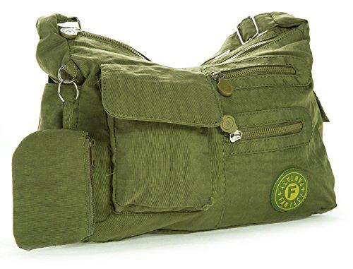 Green Multipocket Medium Shop Rainproof Lightweight Messenger Body Bag Fabric Size Unisex Olive Cross Medium Big Handbag 7qXwZZ