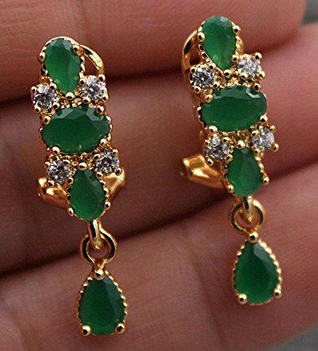 Filled Flower (Meenanoom 18K Yellow Gold Filled - Flower Teardrop Emerald Jade Topaz Gems Party Earrings)