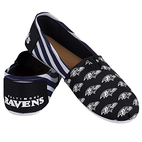 Pick Summer Team NFL Canvas Stripes Slip Ladies Shoes Womens Forever Baltimore On Collectibles 2015 Ravens Football gpq1Pw