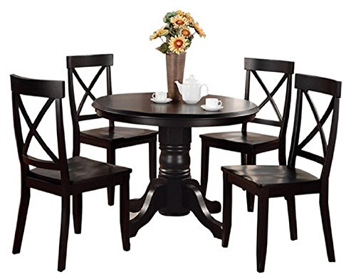 Home Styles 5 Piece Dining Set - Black - Includes a Sturdy Pedestal Style Table and 4 Cross Back Chairs (Banquettes For Sale)