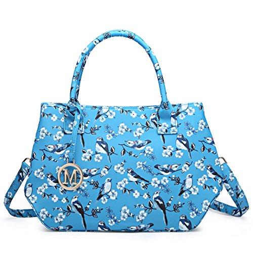 Miss Lulu Ladies Tote Handbag Cross Body Bag Cute Fresh Bird Flower Design for Girls Women (1633-16J Blue)