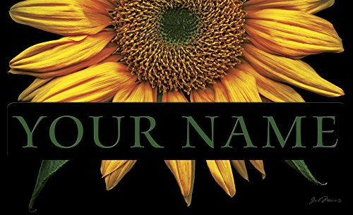 Name Door Mat - Toland - Sunflowers on Black Personalized/Customizable Indoor Outdoor Welcome Door Mat USA-Produced