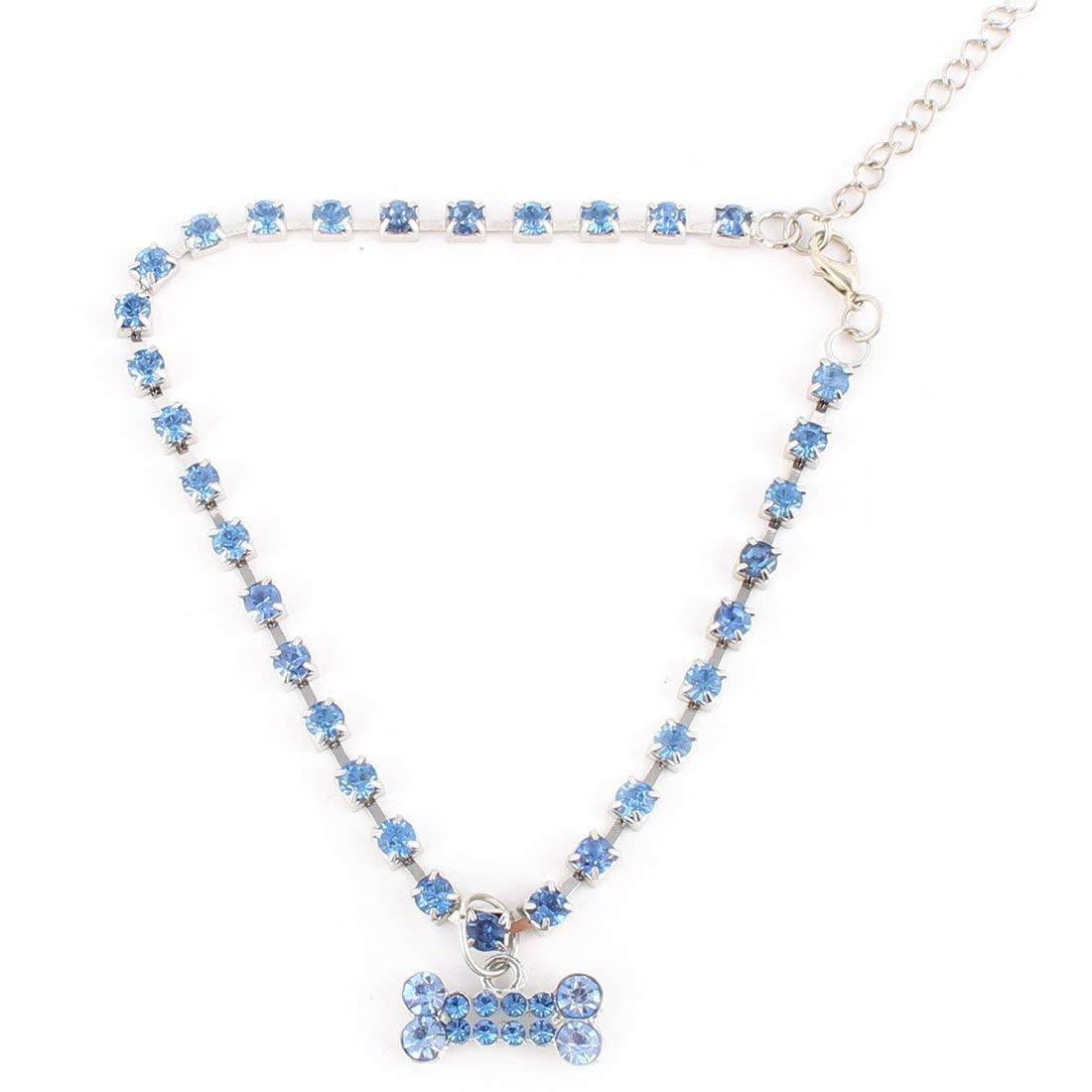 Rhinestone Mosaic Plastic Outdoor Round Bead Bowknot Pendent Adjustable Pet Necklace bluee