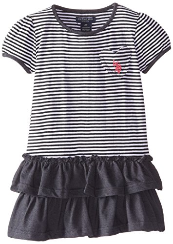 Girls Puff Sleeve Top (U.S. POLO ASSN. Little Girls' Puff Sleeve Top Denim Bottom Dress, Black, 3T)