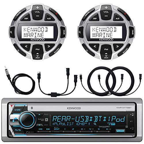 Kenwood Single DIN Marine Boat Yacht USB CD Player Bluetooth Stereo Receiver, 2X Kenwood Digital LCD Display Wired Remote, 40