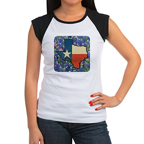 Royal Lion Women's Cap Sleeve T-Shirt Texas Flag Bluebonnets - Black/White, M (8-10)