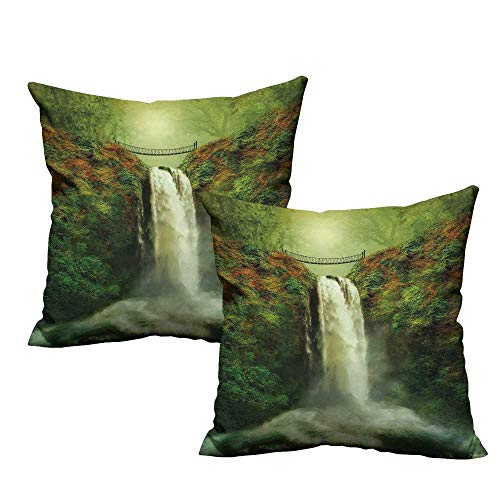 (Nature Square Throw Pillow Covers Majestic Waterfall Flowing by The Rocks and Old Bridge in Forest Artwork Super Soft and Luxury, Hidden Zipper Design 18