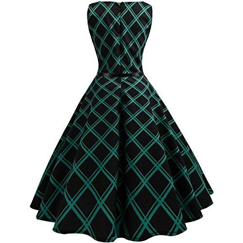 Vestido Coctel A Años La 50 Vintage Mujer Hasta Cuadros Rodilla 45L3AjR