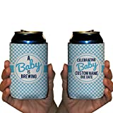 Custom Baby Shower Can Cooler- A Baby Is Brewing Can Cooler - It's A Boy (96)