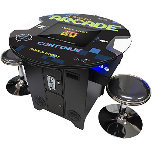 Creative Arcades Full-Size Commercial Grade Cocktail Arcade Table Machine | Trackball | 412 Classic Games | 2 Sanwa Joysticks | 2 Stools | 3-Year Warranty | Round Glass Top