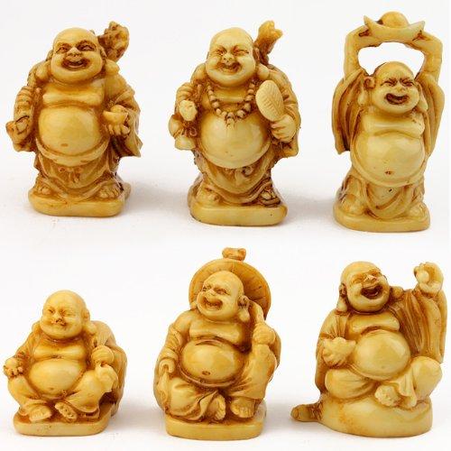 Série De 6 Figurines Bouddha Rieur   Couleur Ivoire: Amazon.fr: Cuisine U0026  Maison