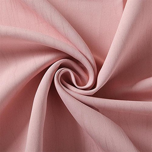 Miuco Blackout Curtains Room Darkening Curtains Textured Grommet Curtains for Kids Bedroom Set of 2 52x84 Inch Pink