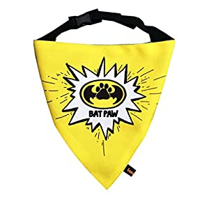 Lana Paws The Superhero Dog Bandana with Easy to Use Adjustable Strap (Yellow)